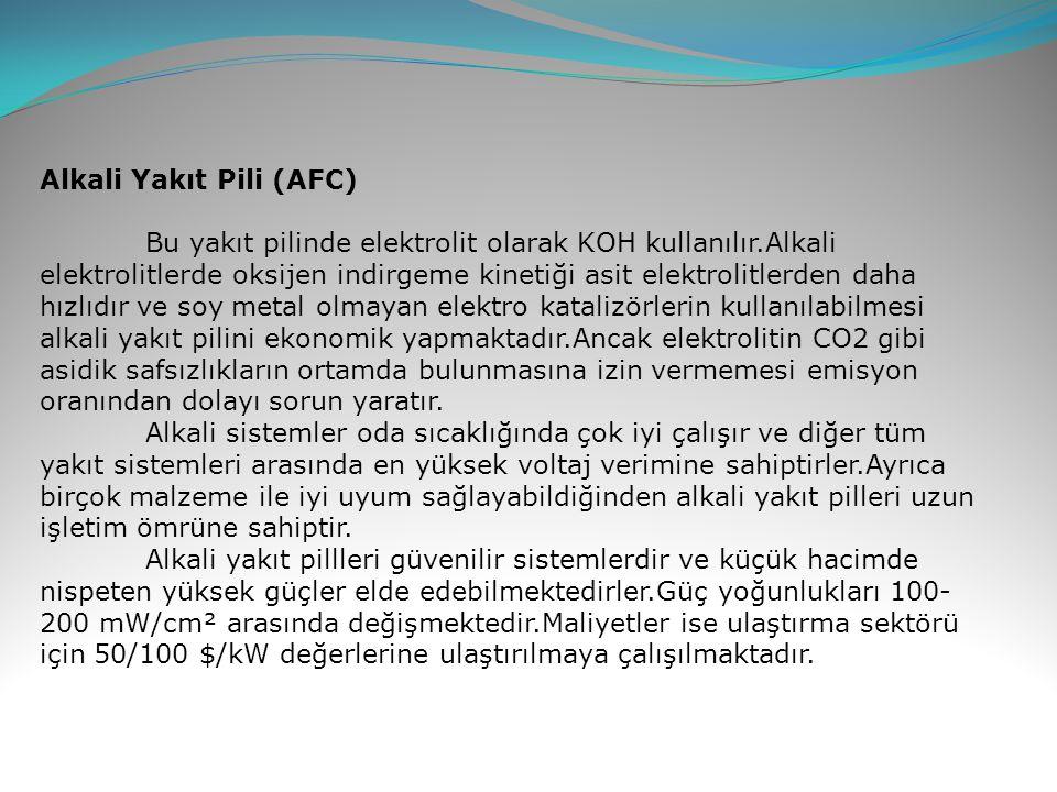 Alkali Yakıt Pili (AFC) Bu yakıt pilinde elektrolit olarak KOH kullanılır.Alkali elektrolitlerde oksijen indirgeme kinetiği asit elektrolitlerden daha