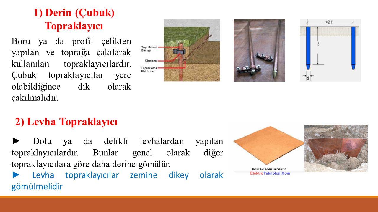 1) Derin (Çubuk) Topraklayıcı Boru ya da profil çelikten yapılan ve toprağa çakılarak kullanılan topraklayıcılardır. Çubuk topraklayıcılar yere olabil