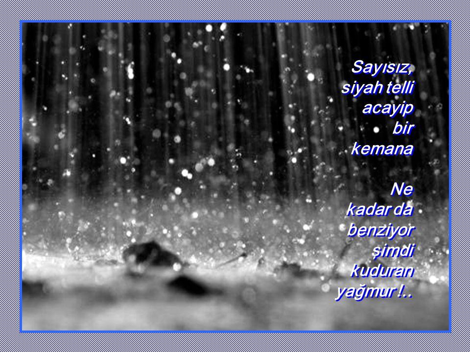 Sayısız, siyah telli acayip bir kemana Ne kadar da benziyor şimdi kuduran yağmur !..