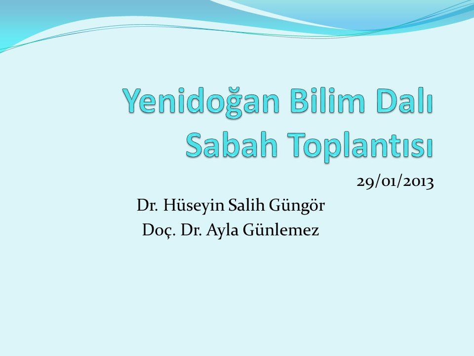 29/01/2013 Dr. Hüseyin Salih Güngör Doç. Dr. Ayla Günlemez