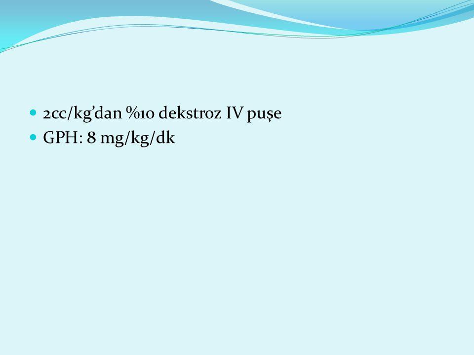2cc/kg'dan %10 dekstroz IV puşe GPH: 8 mg/kg/dk