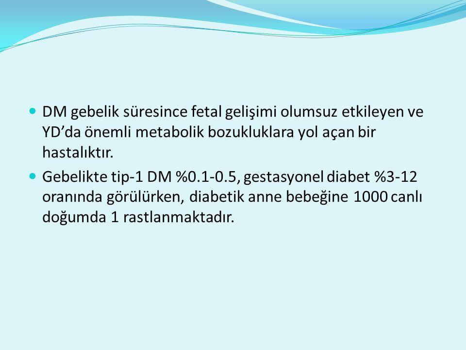 DM gebelik süresince fetal gelişimi olumsuz etkileyen ve YD'da önemli metabolik bozukluklara yol açan bir hastalıktır. Gebelikte tip-1 DM %0.1-0.5, ge