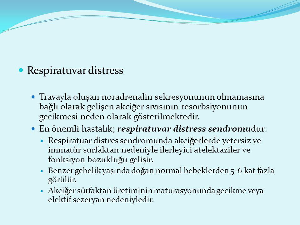 Respiratuvar distress Travayla oluşan noradrenalin sekresyonunun olmamasına bağlı olarak gelişen akciğer sıvısının resorbsiyonunun gecikmesi neden ola