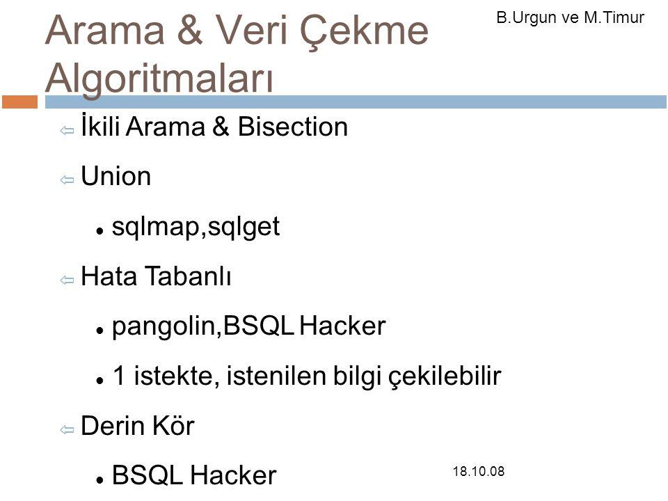 Arama & Veri Çekme Algoritmaları ⇦ İkili Arama & Bisection ⇦ Union sqlmap,sqlget ⇦ Hata Tabanlı pangolin,BSQL Hacker 1 istekte, istenilen bilgi çekilebilir ⇦ Derin Kör BSQL Hacker Karakter başına 2 istek.
