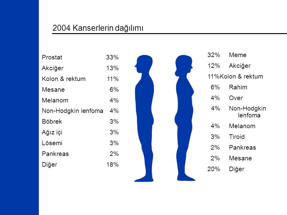 2004 Kanserlerin dağılımı 32%Meme 12%Akciğer 11%Kolon & rektum 6%Rahim 4%Over 4%Non-Hodgkin lenfoma 4%Melanom 3%Tiroid 2%Pankreas 2%Mesane 20%Diğer Prostat33% Akciğer13% Kolon & rektum11% Mesane6% Melanom4% Non-Hodgkin lenfoma4% Böbrek3% Ağız içi3% Lösemi3% Pankreas2% Diğer18%