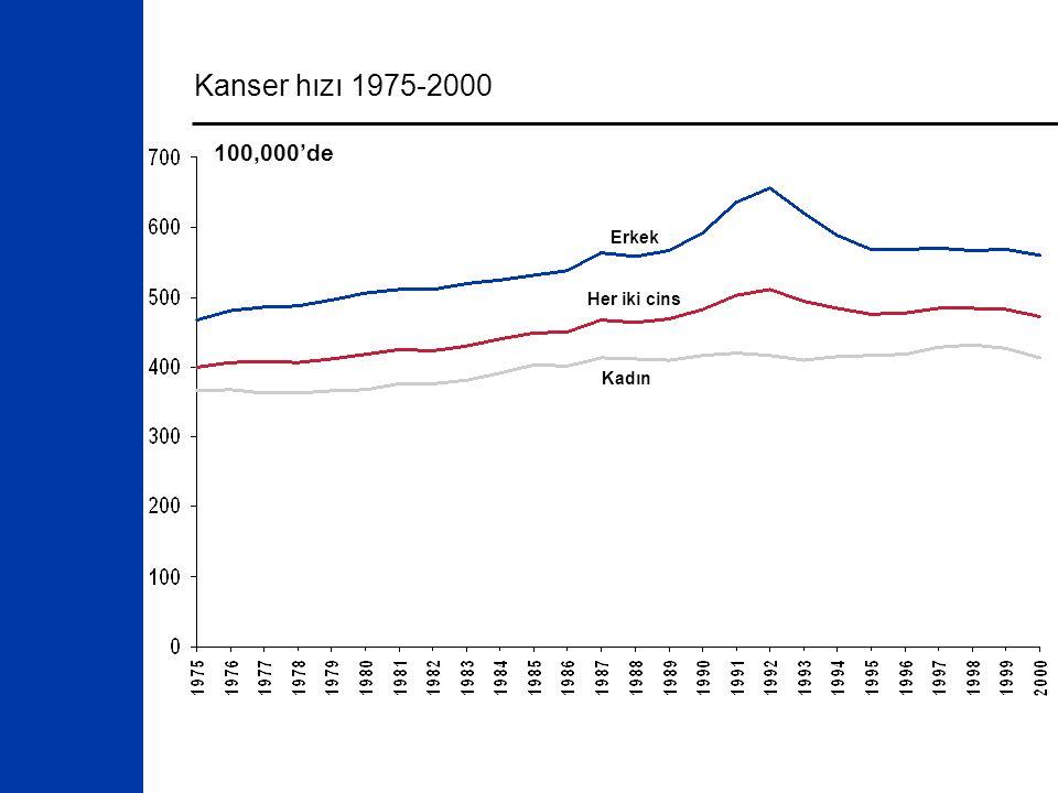 Kanser hızı 1975-2000 Her iki cins Erkek Kadın 100,000'de