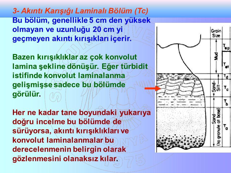 3- Akıntı Karışığı Laminalı Bölüm (Tc) Bu bölüm, genellikle 5 cm den yüksek olmayan ve uzunluğu 20 cm yi geçmeyen akıntı kırışıkları içerir. Bazen kır