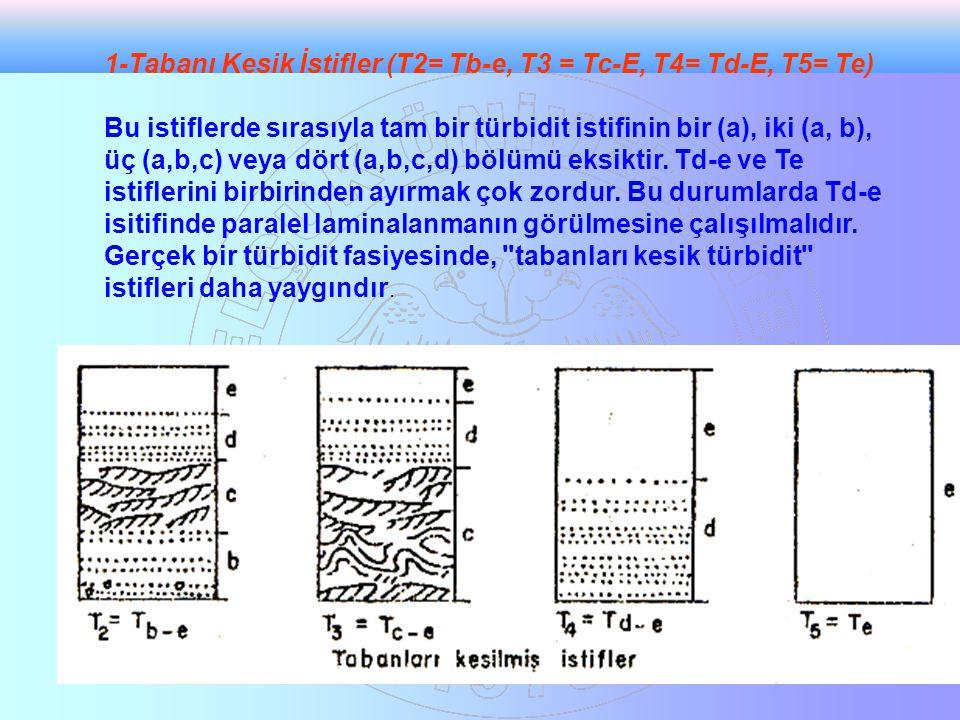 1-Tabanı Kesik İstifler (T2= Tb-e, T3 = Tc-E, T4= Td-E, T5= Te) Bu istiflerde sırasıyla tam bir türbidit istifinin bir (a), iki (a, b), üç (a,b,c) vey