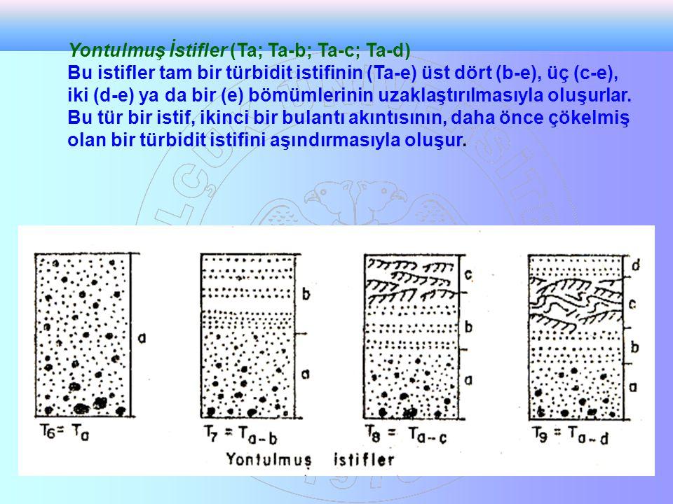 Yontulmuş İstifler (Ta; Ta-b; Ta-c; Ta-d) Bu istifler tam bir türbidit istifinin (Ta-e) üst dört (b-e), üç (c-e), iki (d-e) ya da bir (e) bömümlerinin