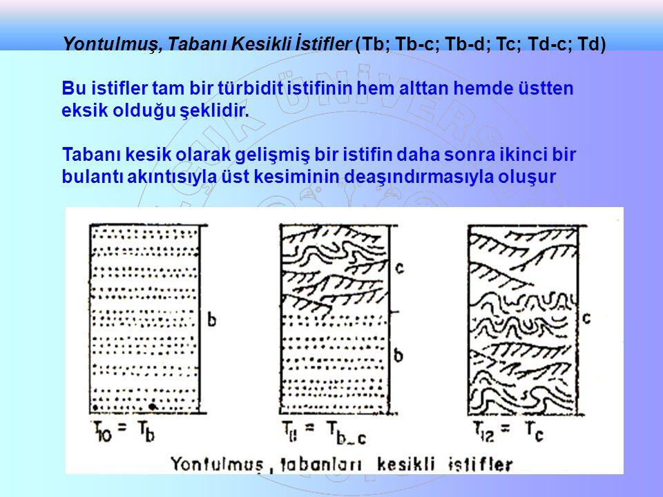 Yontulmuş, Tabanı Kesikli İstifler (Tb; Tb-c; Tb-d; Tc; Td-c; Td) Bu istifler tam bir türbidit istifinin hem alttan hemde üstten eksik olduğu şeklidir
