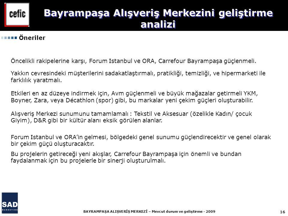 16 BAYRAMPAŞA ALIŞVERİŞ MERKEZİ – Mevcut durum ve geliştirme - 2009 Öncelikli rakipelerine karşı, Forum Istanbul ve ORA, Carrefour Bayrampaşa güçlenmeli.