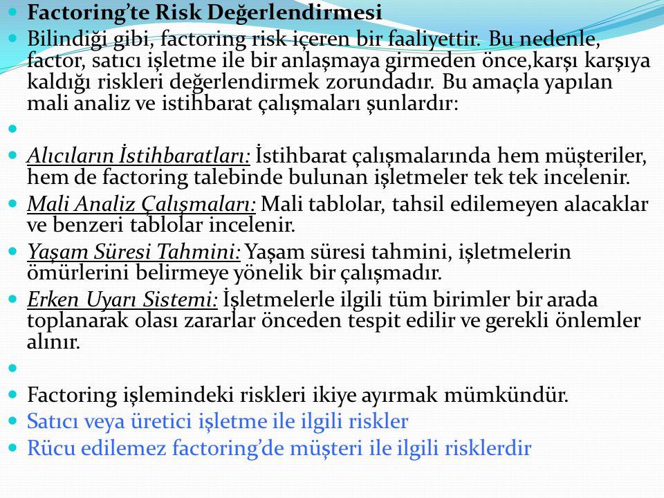 Factoring'te Risk Değerlendirmesi Bilindiği gibi, factoring risk içeren bir faaliyettir. Bu nedenle, factor, satıcı işletme ile bir anlaşmaya girmeden