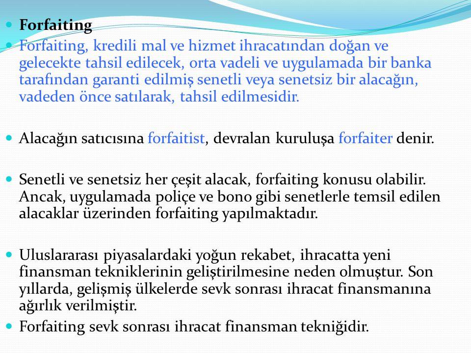 Forfaiting Forfaiting, kredili mal ve hizmet ihracatından doğan ve gelecekte tahsil edilecek, orta vadeli ve uygulamada bir banka tarafından garanti e