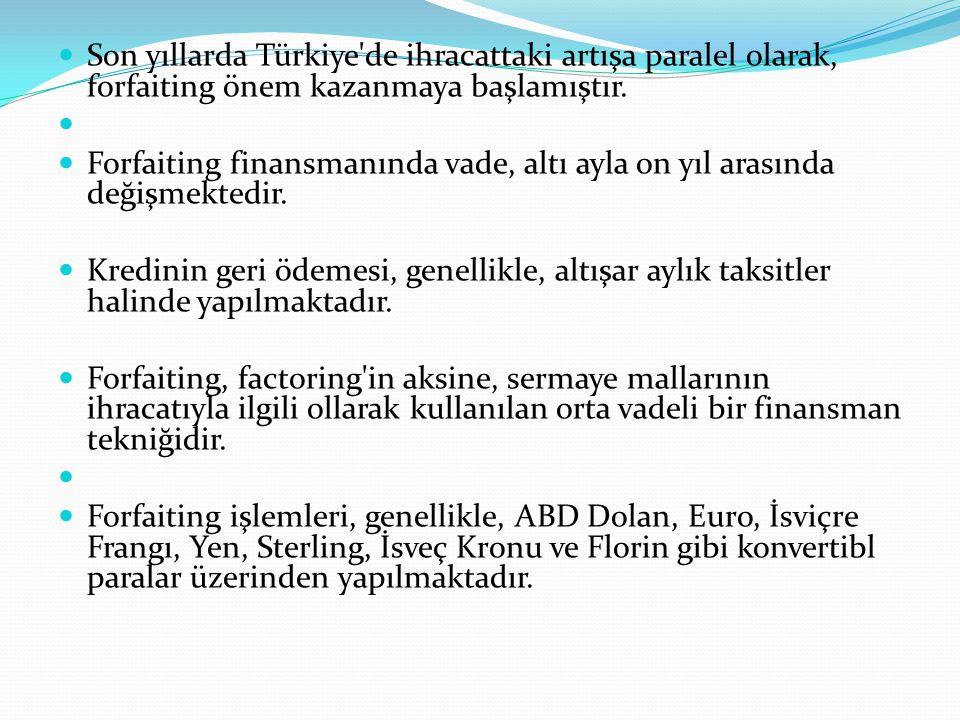 Son yıllarda Türkiye'de ihracattaki artışa paralel olarak, forfaiting önem kazanmaya başlamıştır. Forfaiting finansmanında vade, altı ayla on yıl aras