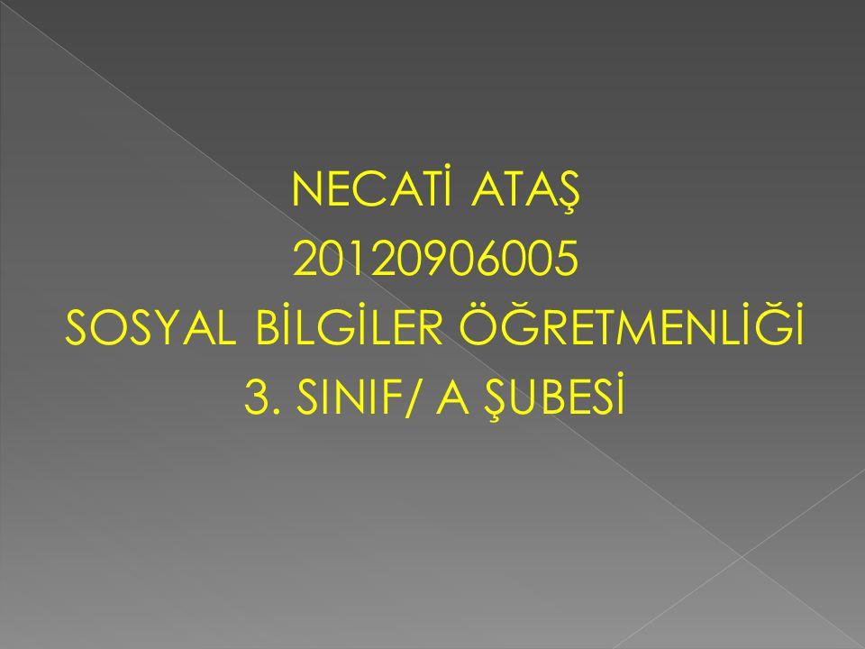 NECATİ ATAŞ 20120906005 SOSYAL BİLGİLER ÖĞRETMENLİĞİ 3. SINIF/ A ŞUBESİ