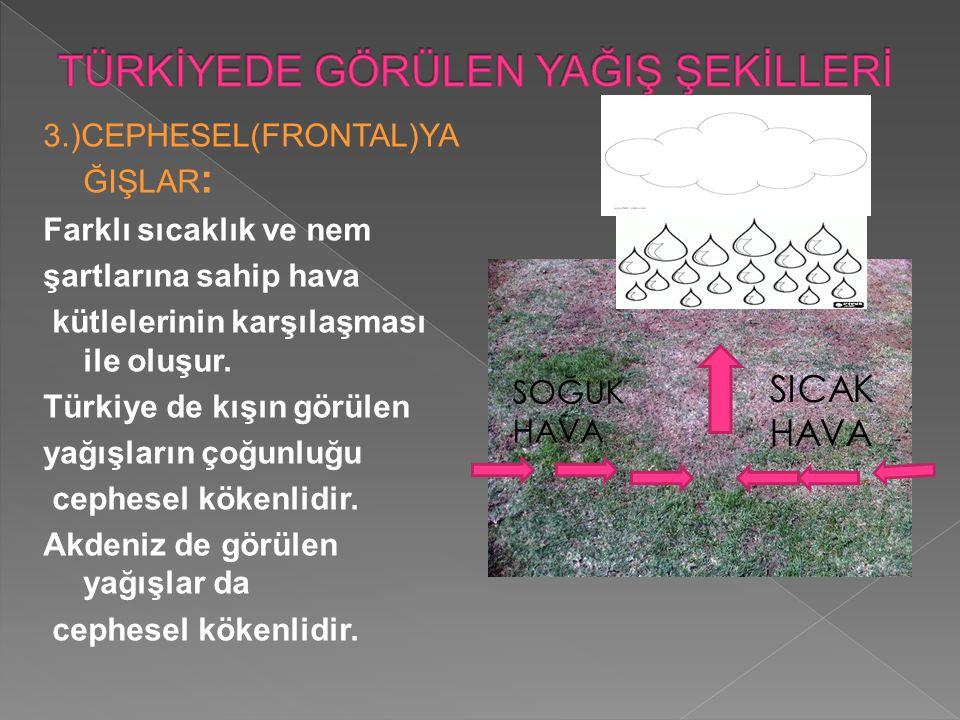 3.)CEPHESEL(FRONTAL)YA ĞIŞLAR : Farklı sıcaklık ve nem şartlarına sahip hava kütlelerinin karşılaşması ile oluşur. Türkiye de kışın görülen yağışların