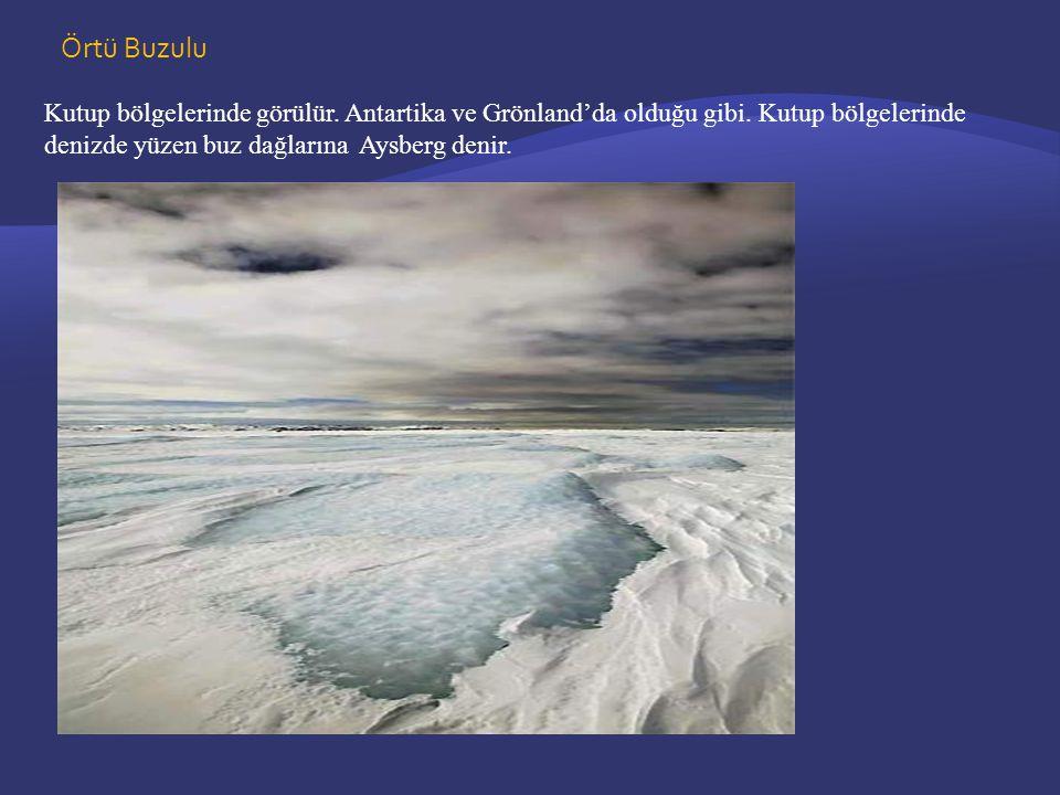 Örtü Buzulu Kutup bölgelerinde görülür.Antartika ve Grönland'da olduğu gibi.