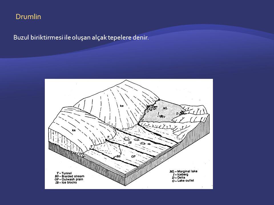 Drumlin Buzul biriktirmesi ile oluşan alçak tepelere denir.