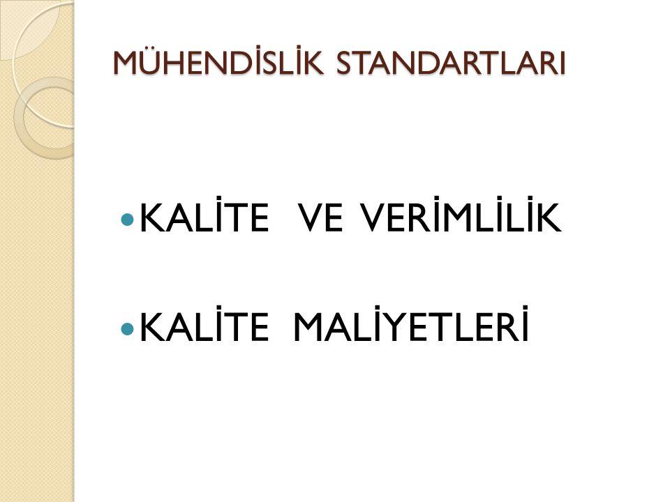 MÜHEND İ SL İ K STANDARTLARI Verimliliğin Ölçümü Mikro düzeyde yapılacak karşılaştırmalar, ◦ Zayıf noktaları belirleyerek yönetim stratejisi oluşturmak, ◦ Verimliliği birimler düzeyinde kontrol etmek, ◦ Faaliyetleri planlamak, ◦ Çalışma yaşamını iyileştirmek ve işçi-işveren ilişkilerini geliştirmek, ◦ Üretimin standart değeri ile birim üretim maliyetleri arasında ilişki kuracak bir bilgi akışını sağlamak ◦ Gelişmiş ülkelerde örnekleri görüldüğü üzere ücretlerin belirlenmesinde kullanmak vb.