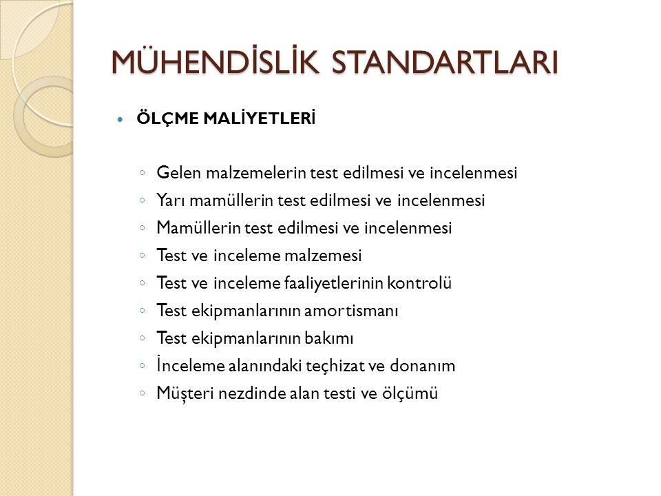 MÜHEND İ SL İ K STANDARTLARI ÖLÇME MAL İ YETLER İ ◦ Gelen malzemelerin test edilmesi ve incelenmesi ◦ Yarı mamüllerin test edilmesi ve incelenmesi ◦ M