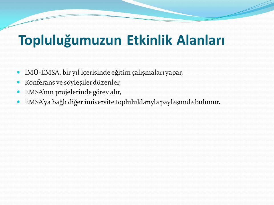 Topluluğumuzun Etkinlik Alanları İMÜ-EMSA, bir yıl içerisinde eğitim çalışmaları yapar, Konferans ve söyleşiler düzenler, EMSA'nın projelerinde görev alır, EMSA'ya bağlı diğer üniversite topluluklarıyla paylaşımda bulunur.