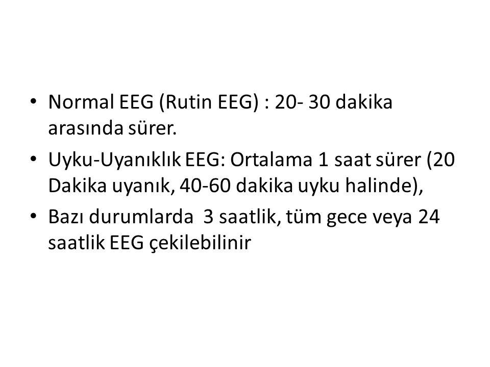 Normal EEG (Rutin EEG) : 20- 30 dakika arasında sürer. Uyku-Uyanıklık EEG: Ortalama 1 saat sürer (20 Dakika uyanık, 40-60 dakika uyku halinde), Bazı d