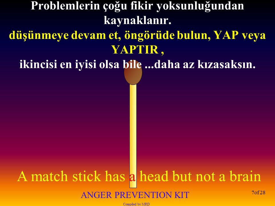A match stick has a head but not a brain ANGER PREVENTION KIT Compiled by MRD 28of 28 Çoğu insan duyduğunun sadece %20'sini hatırlar .