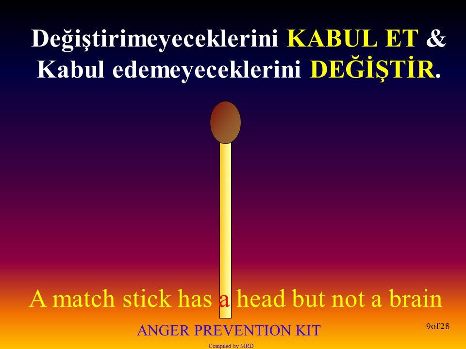 A match stick has a head but not a brain ANGER PREVENTION KIT Compiled by MRD 20of 28 Beklenti hayal kırıklığını besler, hayal kırıklığı kızgınlığı...