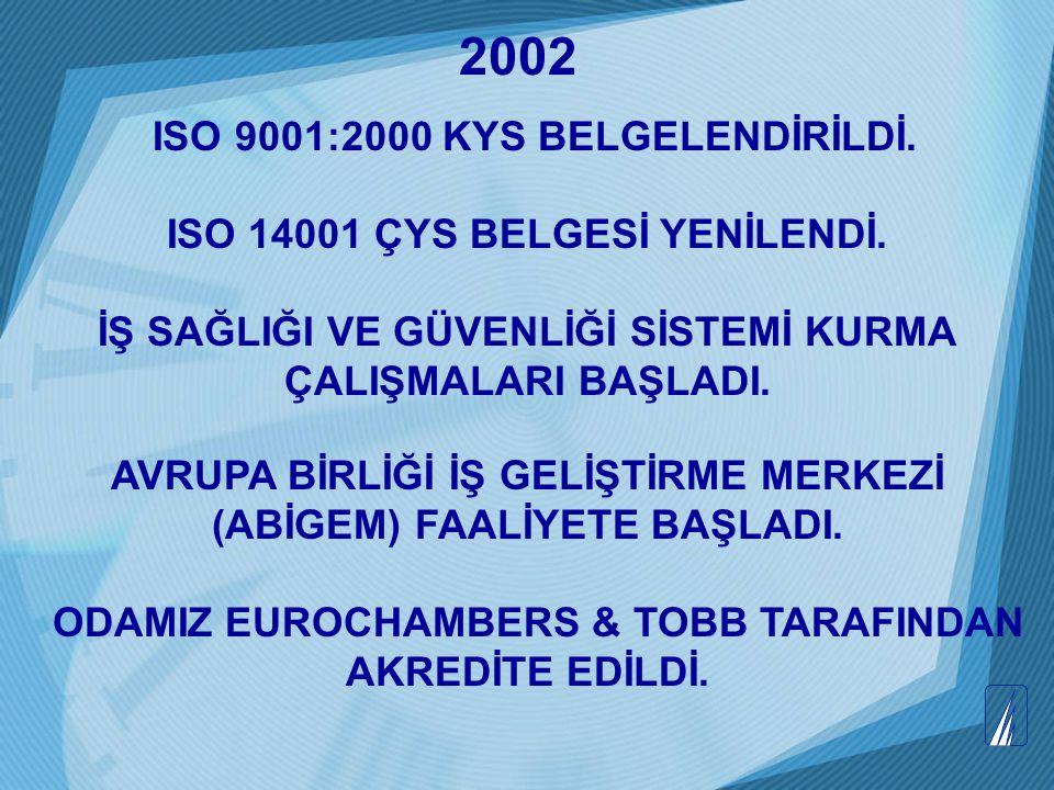 ISO 9001:2000 KYS BELGELENDİRİLDİ. ISO 14001 ÇYS BELGESİ YENİLENDİ. İŞ SAĞLIĞI VE GÜVENLİĞİ SİSTEMİ KURMA ÇALIŞMALARI BAŞLADI. AVRUPA BİRLİĞİ İŞ GELİŞ