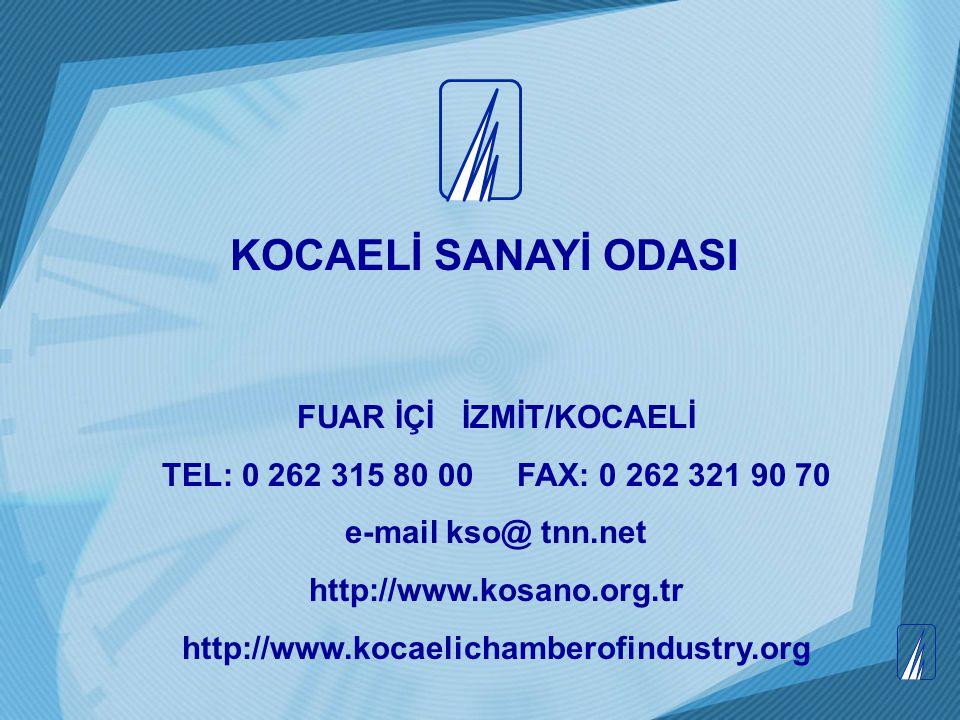 FUAR İÇİ İZMİT/KOCAELİ TEL: 0 262 315 80 00 FAX: 0 262 321 90 70 e-mail kso@ tnn.net http://www.kosano.org.tr http://www.kocaelichamberofindustry.org