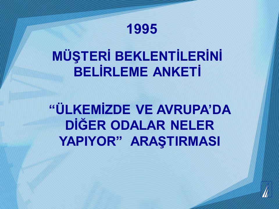 """1995 MÜŞTERİ BEKLENTİLERİNİ BELİRLEME ANKETİ """"ÜLKEMİZDE VE AVRUPA'DA DİĞER ODALAR NELER YAPIYOR"""" ARAŞTIRMASI"""