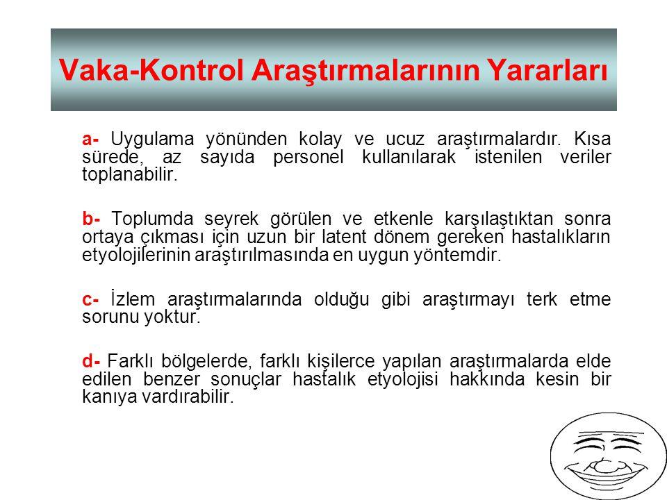 Vaka ve Kontrol Gruplarının Seçiminde Dikkat Edilmesi Gereken Noktalar 1- Vaka ve kontrol grupları bazı özellikler (yaş, cins, ırk v.b.) yönünden benz