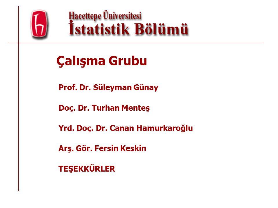 Çalışma Grubu Prof.Dr. Süleyman Günay Doç. Dr. Turhan Menteş Yrd.