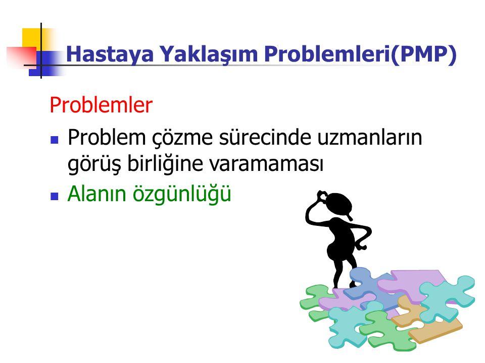 Alanın özgünlüğü Problemler Problem çözme sürecinde uzmanların görüş birliğine varamaması Hastaya Yaklaşım Problemleri(PMP)