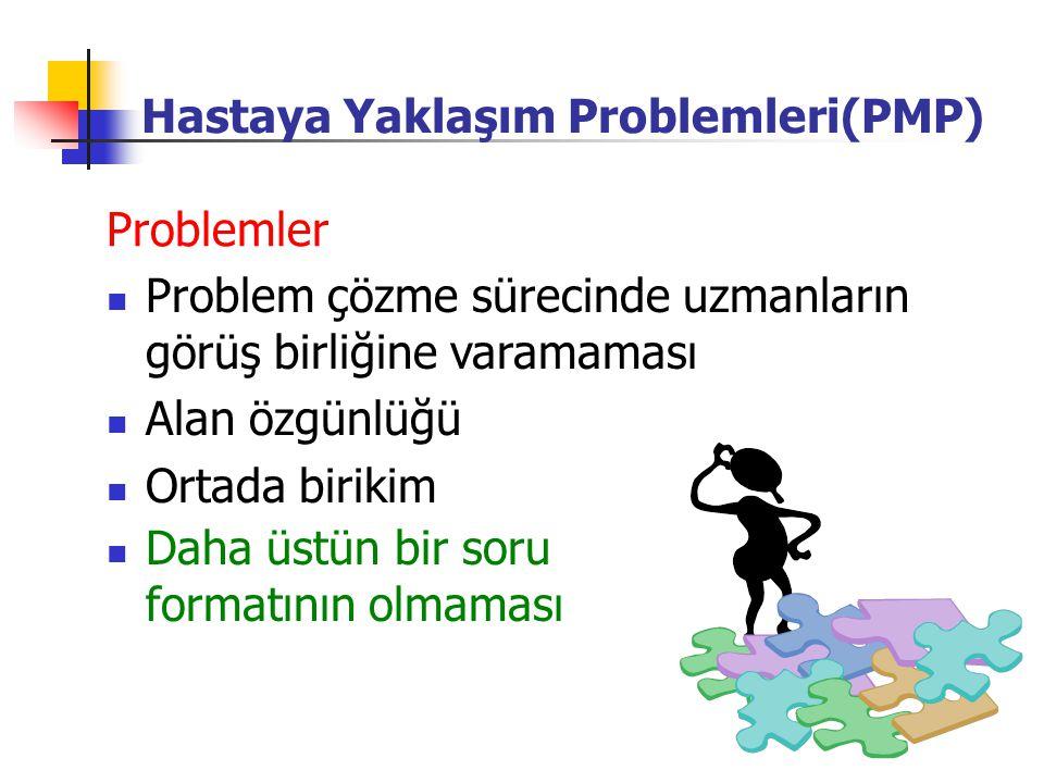 Daha üstün bir soru formatının olmaması Problem çözme sürecinde uzmanların görüş birliğine varamaması Alan özgünlüğü Ortada birikim Problemler Hastaya Yaklaşım Problemleri(PMP)