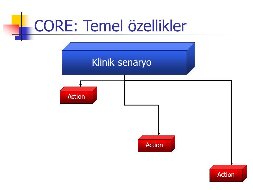Klinik senaryo Action CORE: Temel özellikler