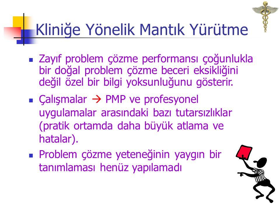 Ortada birikim Alanın özgünlüğü Problemler Problem çözme sürecinde uzmanların görüş birliğine varamaması Hastaya Yaklaşım Problemleri(PMP)