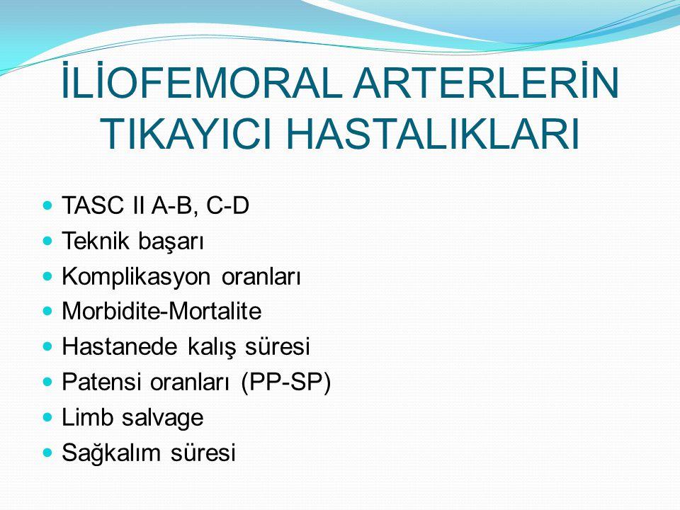 İLİOFEMORAL ARTERLERİN TIKAYICI HASTALIKLARI TASC II A-B, C-D Teknik başarı Komplikasyon oranları Morbidite-Mortalite Hastanede kalış süresi Patensi o
