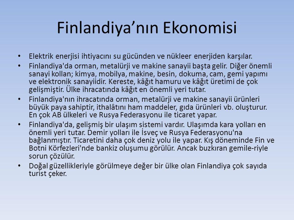 Finlandiya'nın Ekonomisi Elektrik enerjisi ihtiyacını su gücünden ve nükleer enerjiden karşılar.