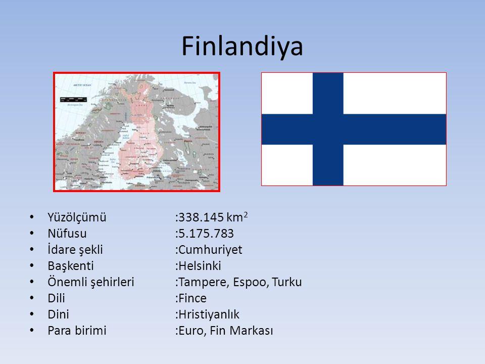 Finlandiya Yüzölçümü:338.145 km 2 Nüfusu:5.175.783 İdare şekli:Cumhuriyet Başkenti:Helsinki Önemli şehirleri :Tampere, Espoo, Turku Dili:Fince Dini:Hristiyanlık Para birimi:Euro, Fin Markası