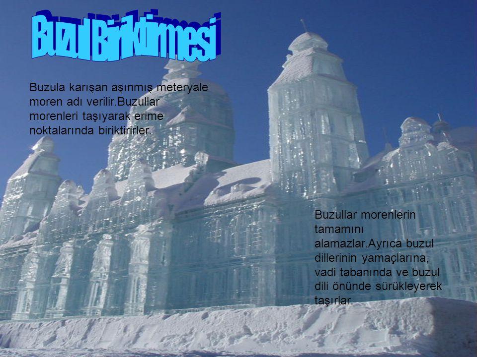 Buzula karışan aşınmış meteryale moren adı verilir.Buzullar morenleri taşıyarak erime noktalarında biriktirirler. Buzullar morenlerin tamamını alamazl