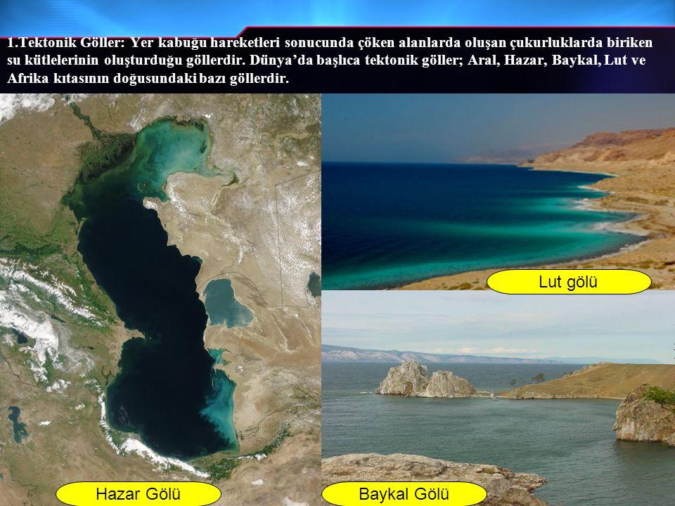 Hazar GölüBaykal Gölü Lut gölü 1.Tektonik Göller: Yer kabuğu hareketleri sonucunda çöken alanlarda oluşan çukurluklarda biriken su kütlelerinin oluştu