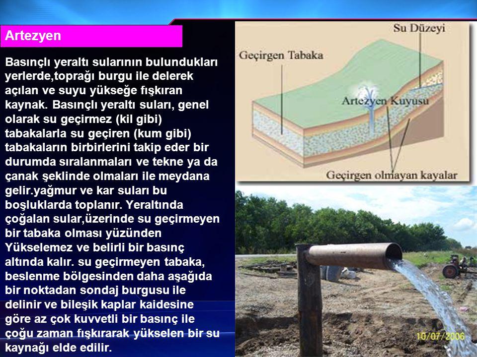 Basınçlı yeraltı sularının bulundukları yerlerde,toprağı burgu ile delerek açılan ve suyu yükseğe fışkıran kaynak. Basınçlı yeraltı suları, genel olar