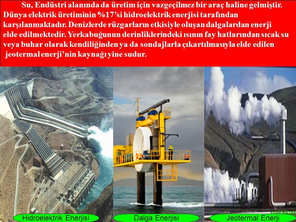 Su, Endüstri alanında da üretim için vazgeçilmez bir araç haline gelmiştir. Dünya elektrik üretiminin %17'si hidroelektrik enerjisi tarafından karşıla