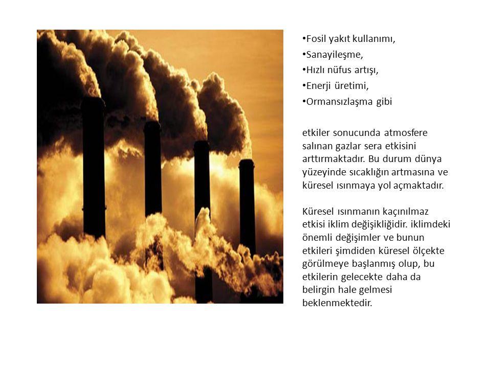 Fosil yakıt kullanımı, Sanayileşme, Hızlı nüfus artışı, Enerji üretimi, Ormansızlaşma gibi etkiler sonucunda atmosfere salınan gazlar sera etkisini ar