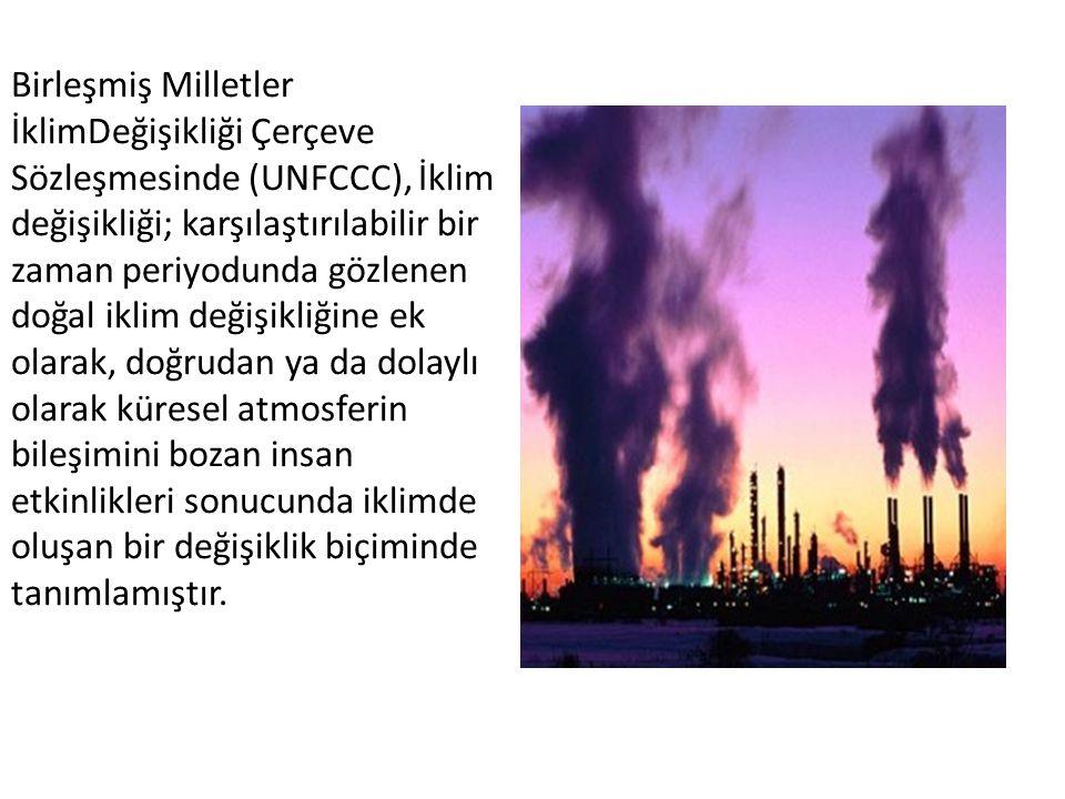 Birleşmiş Milletler İklimDeğişikliği Çerçeve Sözleşmesinde (UNFCCC), İklim değişikliği; karşılaştırılabilir bir zaman periyodunda gözlenen doğal iklim