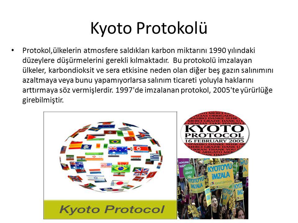 Kyoto Protokolü Protokol,ülkelerin atmosfere saldıkları karbon miktarını 1990 yılındaki düzeylere düşürmelerini gerekli kılmaktadır. Bu protokolü imza