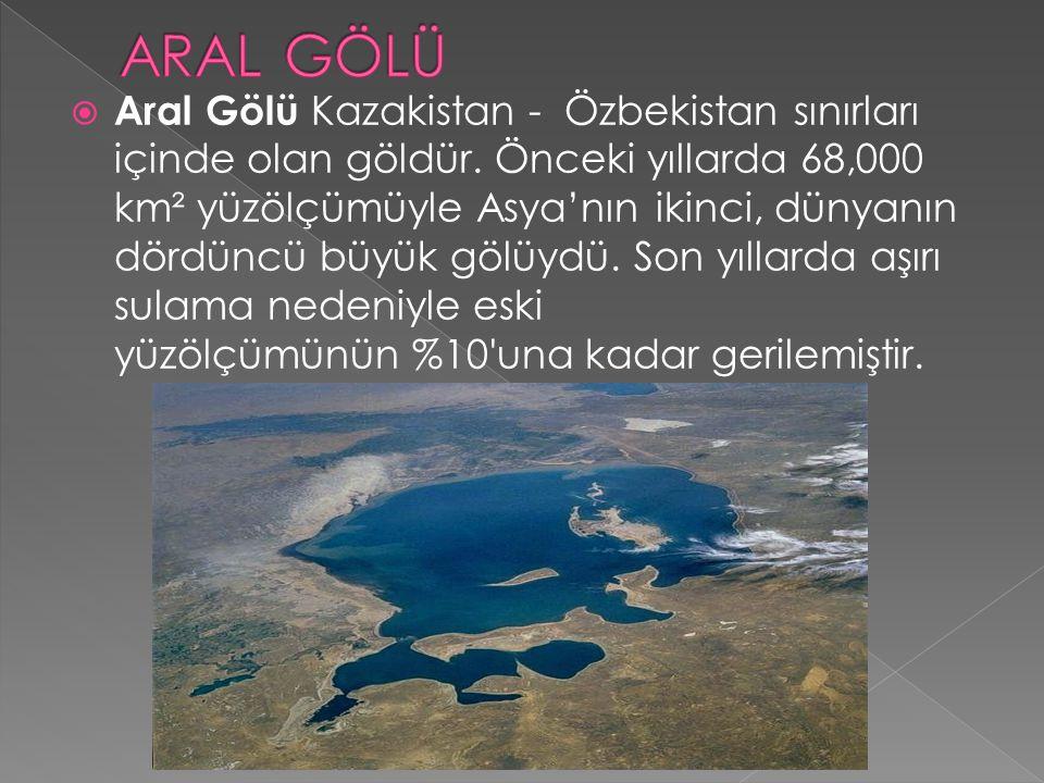  Aral Gölü Kazakistan - Özbekistan sınırları içinde olan göldür. Önceki yıllarda 68,000 km² yüzölçümüyle Asya'nın ikinci, dünyanın dördüncü büyük göl