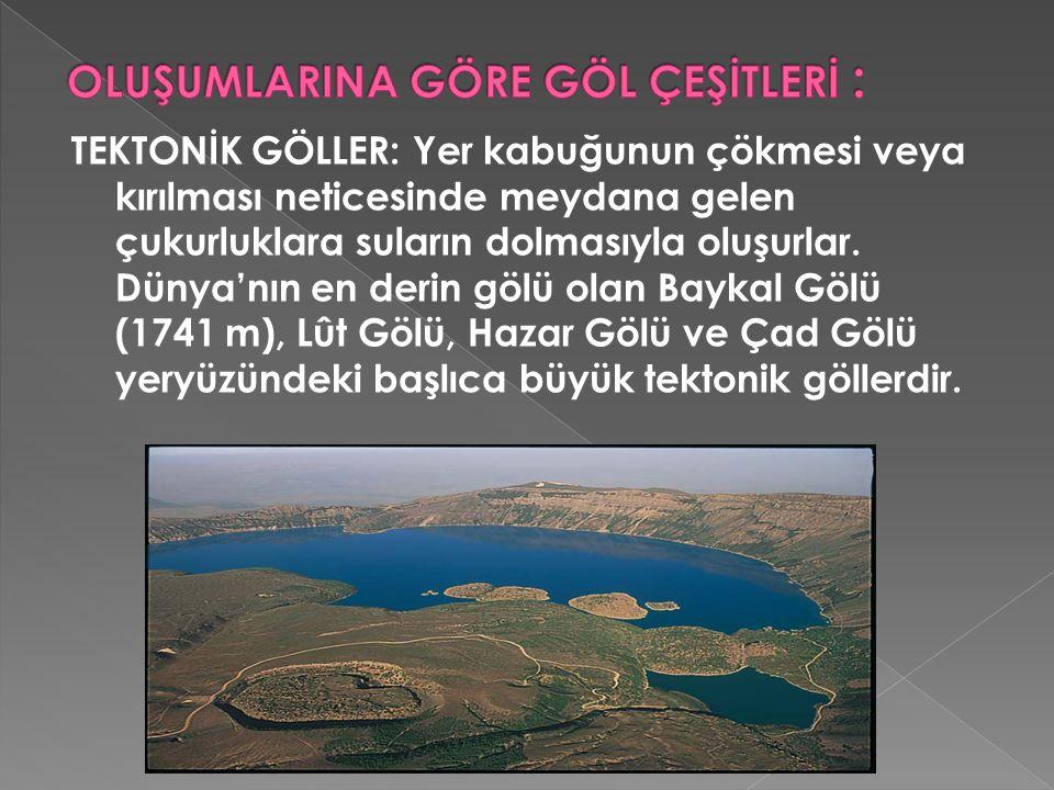 TEKTONİK GÖLLER: Yer kabuğunun çökmesi veya kırılması neticesinde meydana gelen çukurluklara suların dolmasıyla oluşurlar. Dünya'nın en derin gölü ola