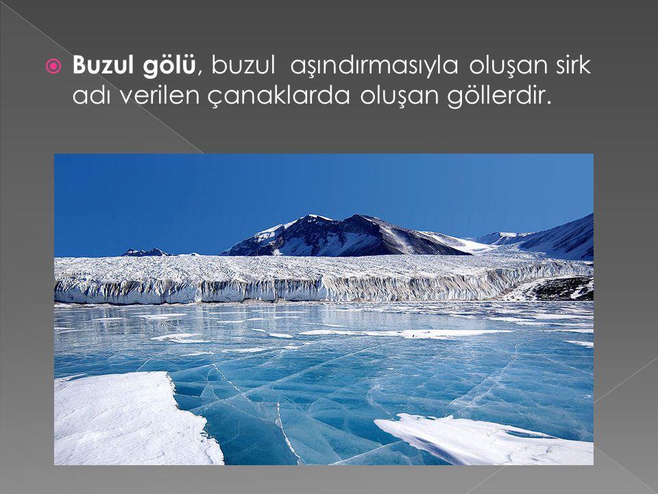  Buzul gölü, buzul aşındırmasıyla oluşan sirk adı verilen çanaklarda oluşan göllerdir.
